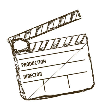 movie clapper: Illustration of cine icon, slate of director Film, vector illustration Illustration