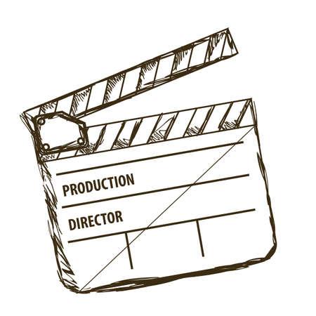 aplaudiendo: Ilustraci�n del icono del cine, la pizarra del director de cine, ilustraci�n vectorial