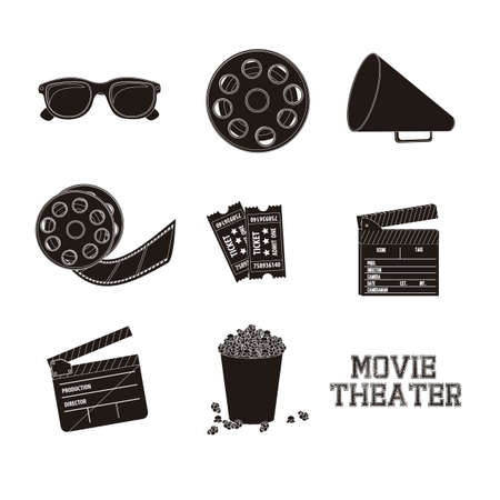 Illustration of icon of cinema, 3D cinema glasses,  director slate, popcorn, tickets, and Film reel, vector illustration Stock Vector - 18954286