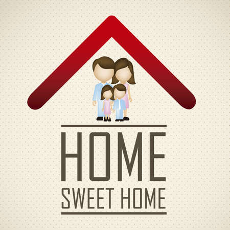 Illustration of real estate icon, application icon with house and family, vector illustration Stock Vector - 18954264