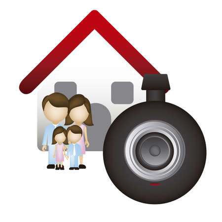 Illustration of real estate icon, application icon with house and family, vector illustration Stock Vector - 18954253