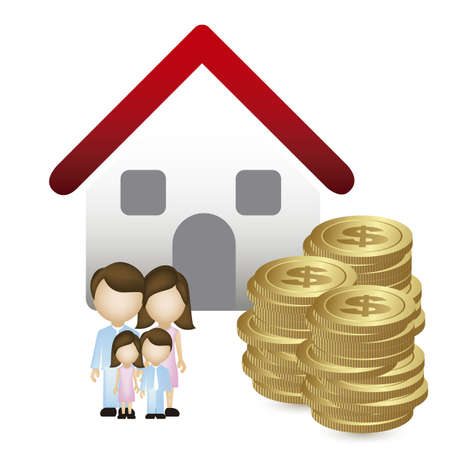 Illustration of real estate icon, application icon with house and family, vector illustration Stock Vector - 18954277