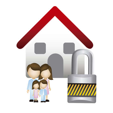 Illustration of real estate icon, application icon with house and family, vector illustration Vector