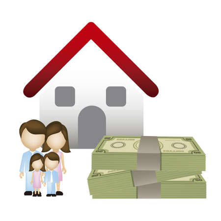 Illustration of real estate icon, application icon with house and family, vector illustration Stock Vector - 18954255