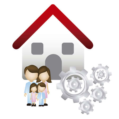 Illustration of real estate icon, application icon with house and family, vector illustration Stock Vector - 18954247