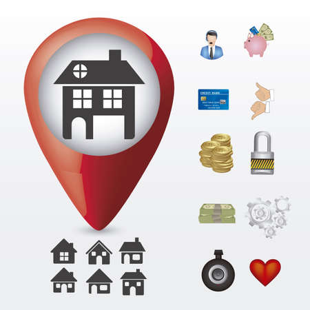 Illustration of real estate icon, application icon with house and differents icons, vector illustration Stock Vector - 18954296