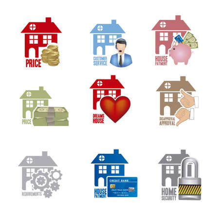 Illustration of real estate icon, conceptual icon with house, vector illustration Stock Vector - 18954285