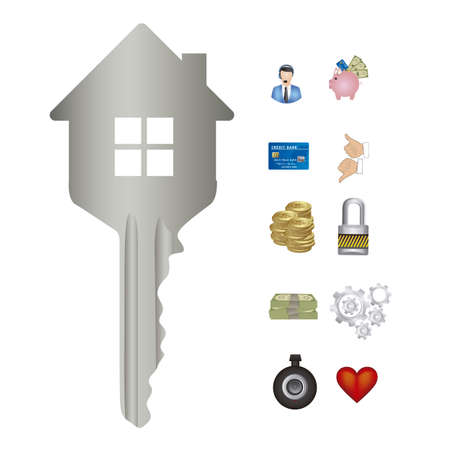 Illustration of real estate icon, conceptual icon with house, vector illustration Stock Vector - 18954290