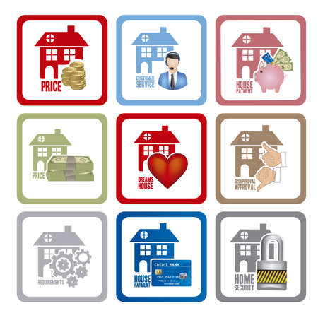 Illustration of real estate icon, conceptual icon with house, vector illustration Stock Vector - 18954284