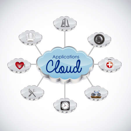 Illustration of icons of applications in the cloud, app icons, vector illustration Vector