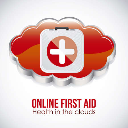 healt: Illustration of icons of applications in the cloud, app icons, vector illustration