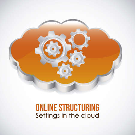 structuring: Illustration of icons of applications in the cloud, app icons, vector illustration