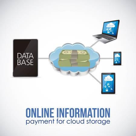communications technology: ilustraci�n de las computadoras y la tecnolog�a de la nube de comunicaciones, ilustraci�n vectorial