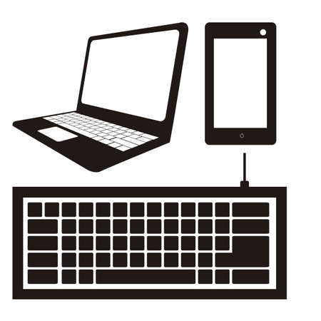 keyboard: illustration of computer icons, iconography computer and keyboard, vector illustration