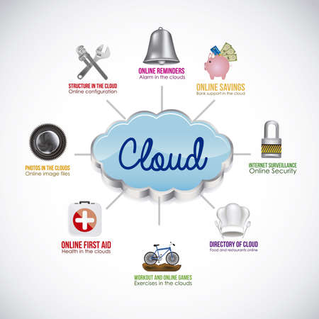 Illustration of icons of applications in the cloud, app icons, vector illustration Stock Vector - 19051074