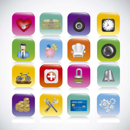 directorio telefonico: Ilustraci�n de los iconos de aplicaciones, iconos de aplicaciones, ilustraci�n vectorial