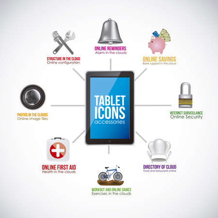 Illustration of icons of applications, app icons, vector illustration Vector