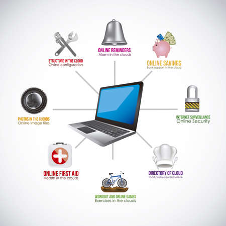 computer health: Illustration of icons of applications, app icons, vector illustration Illustration