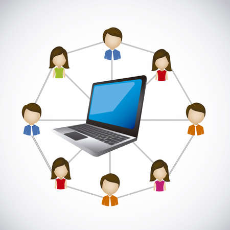 illustration of social networking and laptop  connection, vector illustration Stock Vector - 19051029