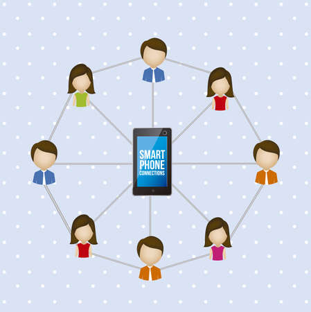 illustration of social networking and smartphone connection, vector illustration Vector