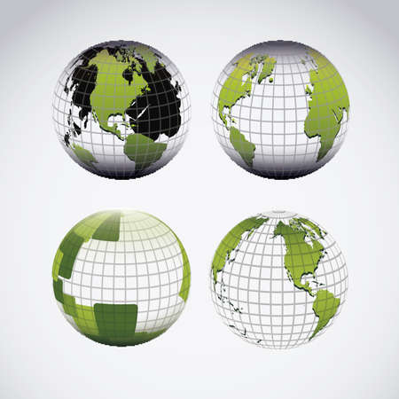Illustration of planet earth icons and spheres, vector illustration Stock Vector - 19051138