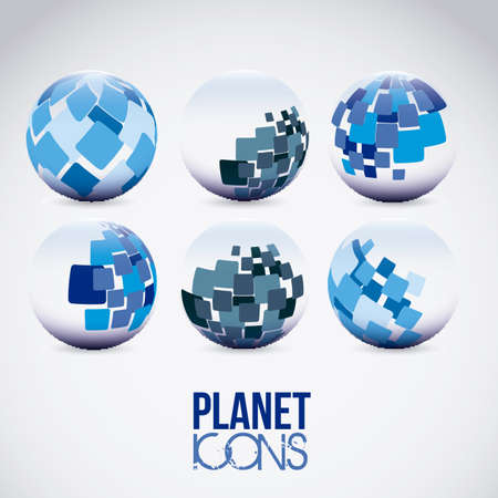 Illustration of planet earth icons and spheres, vector illustration Stock Vector - 19051086
