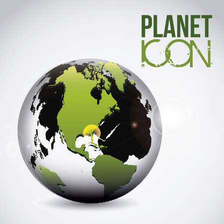 Illustration of planet earth icon and sphere, vector illustration Stock Vector - 19051084