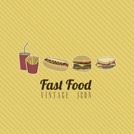 Illustration of fast food vintage, retro style, vector illustration Vector