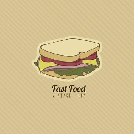 Illustration of fast food vintage, retro style, vector illustration Stock Vector - 19218460
