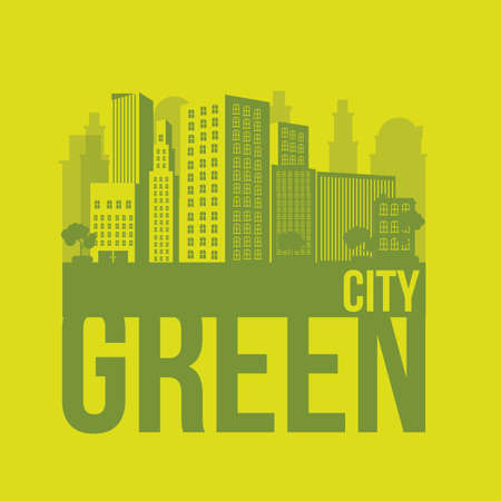 greenhouse and ecology: Illustration of green ecological city, sustainable, vector illustration