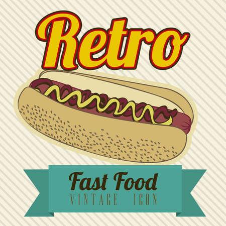 Illustration of fast food vintage, retro poster, vector illustration Vector