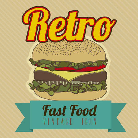 Illustration of fast food vintage, retro poster, vector illustration Vector