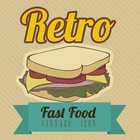 burger with fries: Illustration of fast food vintage, retro poster, vector illustration