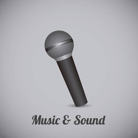 radio microphone: Illustration of icons of music, musical instruments and equipment, vector illustration