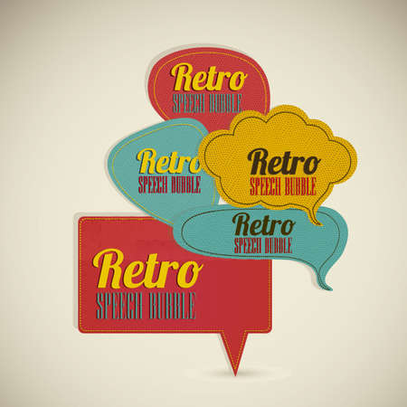 word of god: Illustration of text balloons,  retro style and color, vector illustration