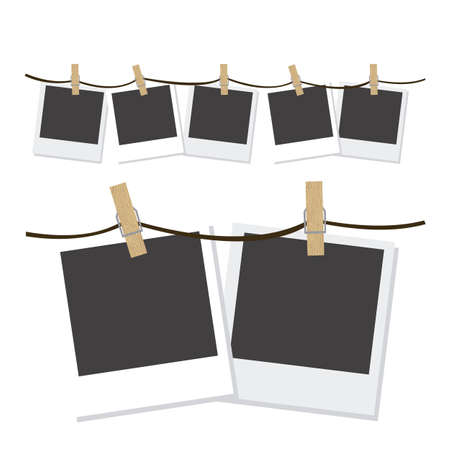 hung: Illustration of  photographs hung with wooden hangers, vector illustration