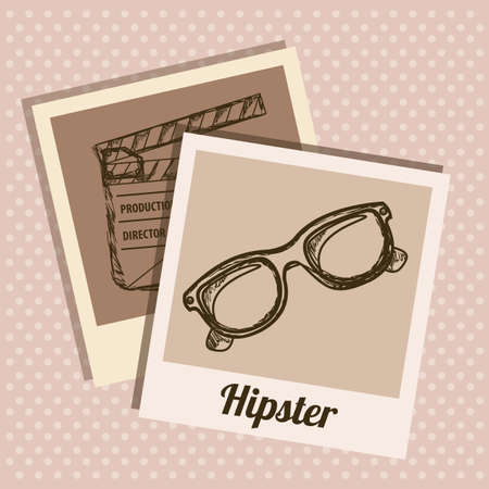 polaroid: Illustration of style hipster, hipster culture and community, vector illustration