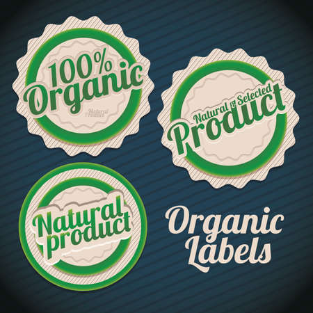 Illustration of labels for organic products, green products, vector illustration Vector