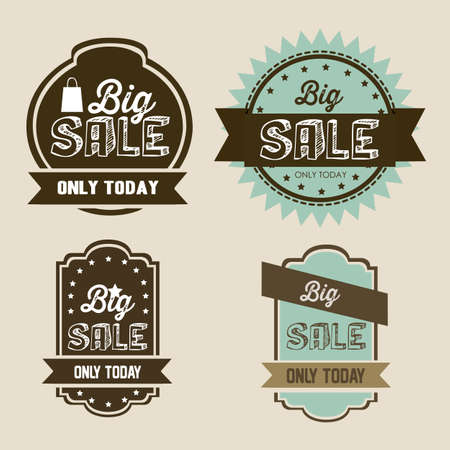 Illustration of discount labels and special offers, seasonal discounts, vector illustration Vector