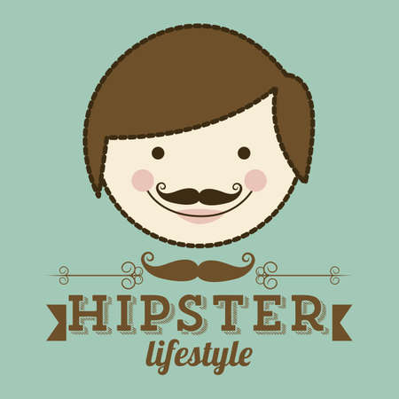 Illustration of hipster culture or fathers day, vector illustration