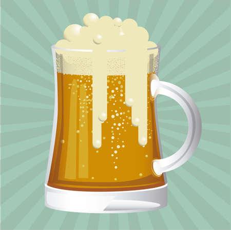 brew beer: Ilustraci�n de la etiqueta de la cerveza sin, cartel cerveza, ilustraci�n vectorial