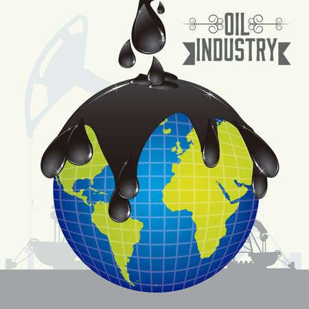 environnement entreprise: Illustration de l'industrie du p�trole et son impact �cologique, illustration Illustration