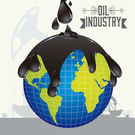 oil and gas industry: Illustration of the oil industry and its ecological impact, illustration