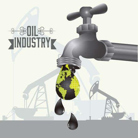 industria petrolera: Ilustraci?n de la industria del petr?leo y su impacto ecol?gico, ilustraci?n