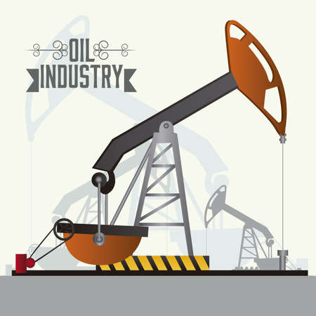 Illustration of the oil industry, oil pump, illustration Vector
