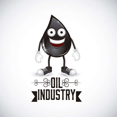 Illustration of the oil industry, oil cartoon character, illustration Illustration