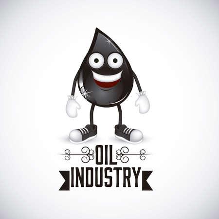 eye drops: Illustration of the oil industry, oil cartoon character, illustration Illustration