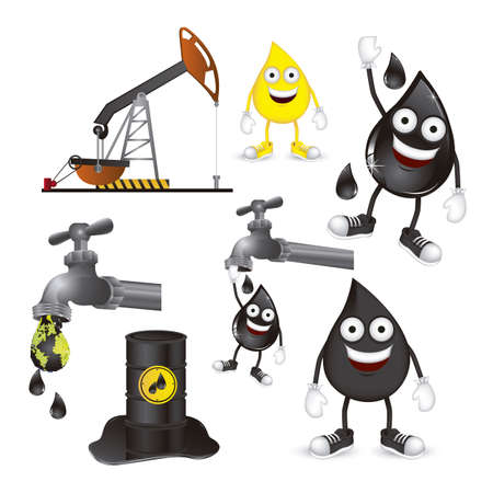 Illustration of the oil industry, oil cartoon character and icons, illustration Vector