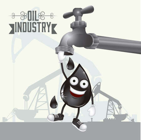 Illustration of the oil industry, oil cartoon character, illustration Vector