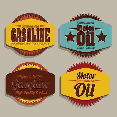 garage automobile: Illustration de l'industrie de l'essence, l'�tiquette de l'huile � moteur, illustration Illustration